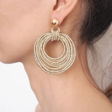 Metal Round Dangling Earrings