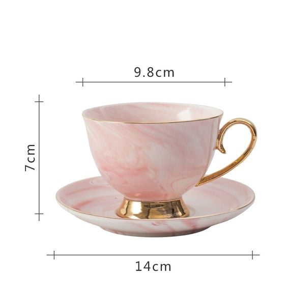 Ceramic Coffee Cup and Saucer Set Gold and Marble Pattern