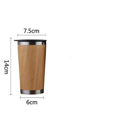 Eco-friendly Bamboo Travel Mug with Lid and Stainless Steel Lining 350ml