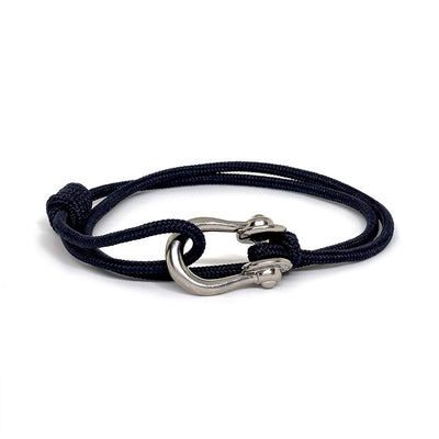 Kalymnos / Navy Solid / Silver - Kalymnos - Inspired by Rock-climbing - Matching Couple Bracelets - Topologie