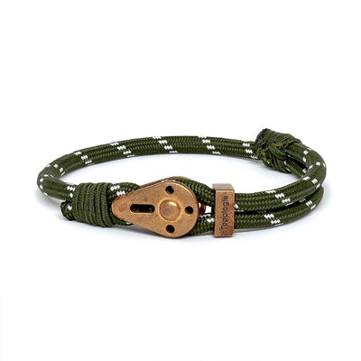 Yosemite / Green Patterned / Raw Brass - Yosemite - Inspired by Rock-climbing - Matching Couple Bracelets - Topologie
