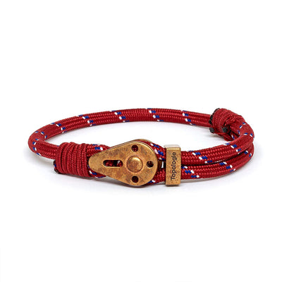 Yosemite / Red Patterned / Raw Brass - Yosemite - Inspired by Rock-climbing - Matching Couple Bracelets - Topologie