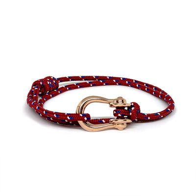 Kalymnos / Red Patterned / Rose Gold - Kalymnos - Inspired by Rock-climbing - Matching Couple Bracelets - Topologie