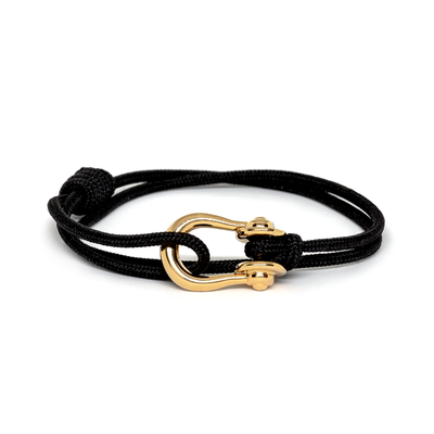 Kalymnos / Black Solid / Gold - Kalymnos - Inspired by Rock-climbing - Matching Couple Bracelets - Topologie
