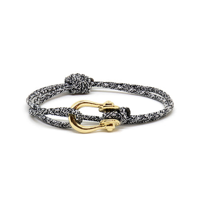Kalymnos / Black Melange / Gold - Kalymnos - Inspired by Rock-climbing - Matching Couple Bracelets - Topologie