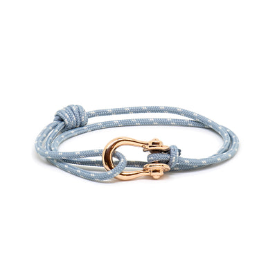 Kalymnos / Powder Blue Patterned / Rose Gold - Kalymnos - Inspired by Rock-climbing - Matching Couple Bracelets - Topologie