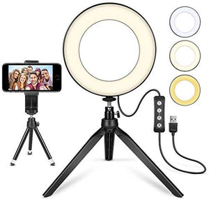 "Mini LED Camera Light with Cell Phone Holder, LED Ring Light 6"" with Tripod Stand"