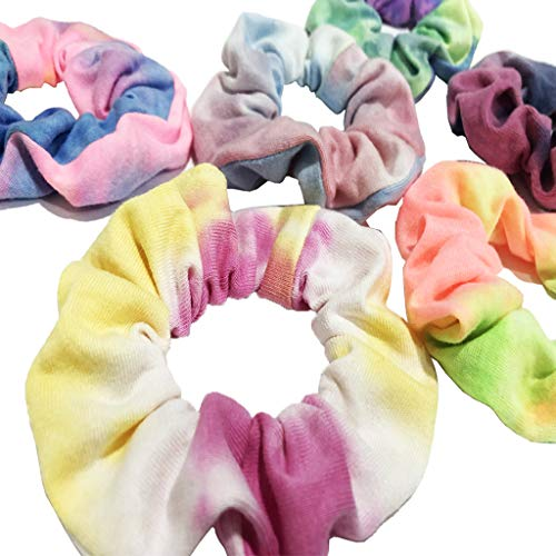 7pcs  Girl's Tie Dye Rainbow Hair Scrunchy Strong Elastic Hair Hair Ties