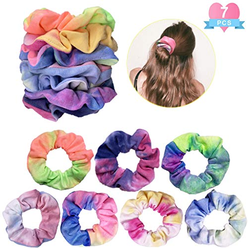 7pcs  Girl's Tie Dye Rainbow Hair Scrunchy Strong Elastic Hair Hair Ties - Jazzie Dealz