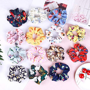 54 Pcs Hair Scrunchies 40 Velvet Hair Scrunchies 14 Chiffon Flower Hair Scrunchies - Jazzie Dealz