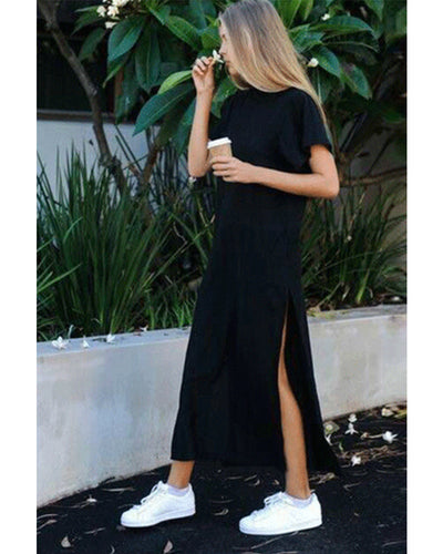 Fashion Round Collar Loose Plain Slit Maxi Dress