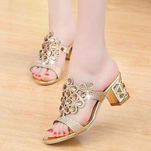 Fashion Sequins Rhinestone Thick Heel Sandals