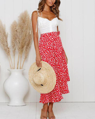 Large Wavy Spot Ruffled Straps With Split Chiffon Skirt