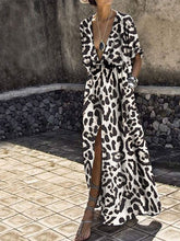Load image into Gallery viewer, Sexy Deep V Collar Leopard Printed Maxi Dress