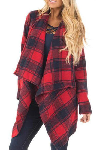 Lapel Long Sleeve Plaids Printed Asymmetrical Hem Casual Cardigans