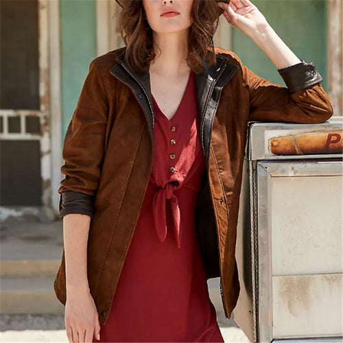 Casual women's stitching long sleeve lapel jacket DWQ40