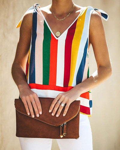Fashion Colorful Stripe Tie Sleeveless Vest