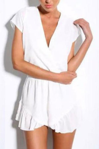 Deep V Neck  Asymmetric Hem  Plain  Short Sleeve  Playsuits