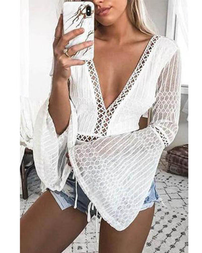 Sexy White Lace Long Sleeves Romper