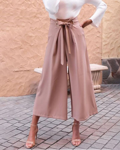 Fashion Plain Wide-Legs Pants