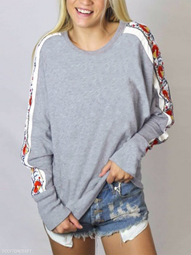 Crew Neck  Cutout Patchwork  Quilted  Abstract Print Plain  Raglan Sleeve Hoodies & Sweatshirts