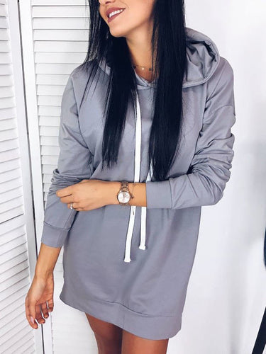 Hooded  Cutout Drawstring Patchwork  Plain Hoodies
