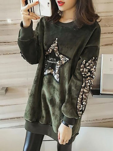 Hooded  Cutout Drawstring Flounce Ruffle Trim  Glitter  Letters Plain Hoodies