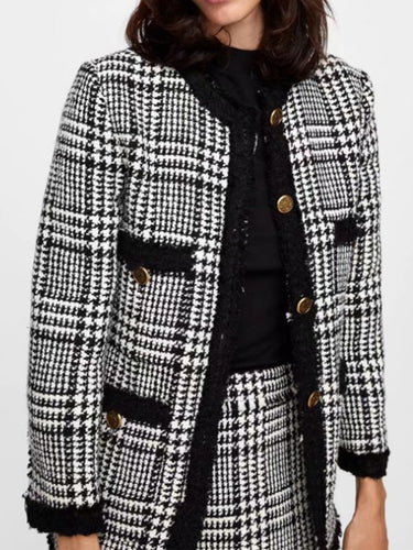Round Neck  Single Breasted  Plaid Blazers