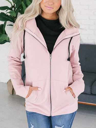 Hooded  Cutout Drawstring Kangaroo Pocket Zips  Plain Hoodies