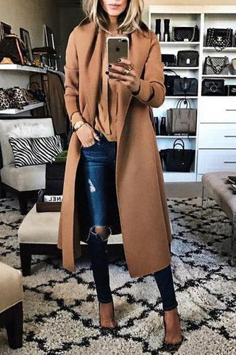Fashion Solid Color Lapel Woollen Outerwear