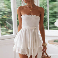 Load image into Gallery viewer, Cotton And Linen Ruffled Chest Strap Dress