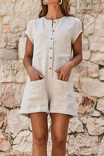 Round Neck Short Sleeve Plain Patch Pocket Playsuits