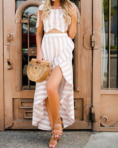 Striped Ruffled Irregular Hem Dress Set
