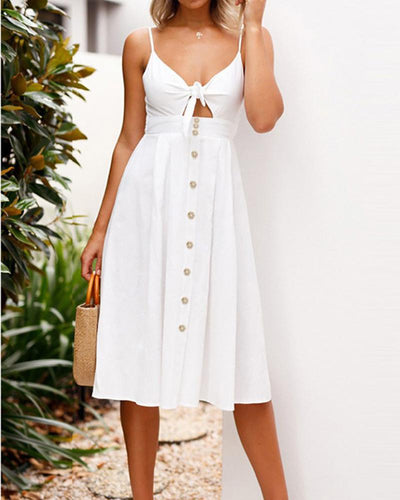 Sling V-Neck Open Back Tie Dress