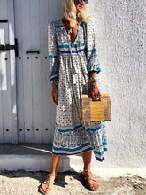 Load image into Gallery viewer, V-Neck Cotton And Linen Printed   Tassel Dress