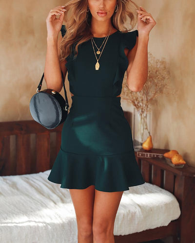 Sleeveless Ruffled Halter Dress