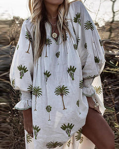 V-Neck Printed Long-Sleeved Dress Cover Up