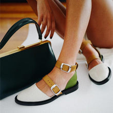 Load image into Gallery viewer, Comfortable Flat Bottom Round Hollow Color Matching Sandals