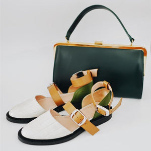 Comfortable Flat Bottom Round Hollow Color Matching Sandals