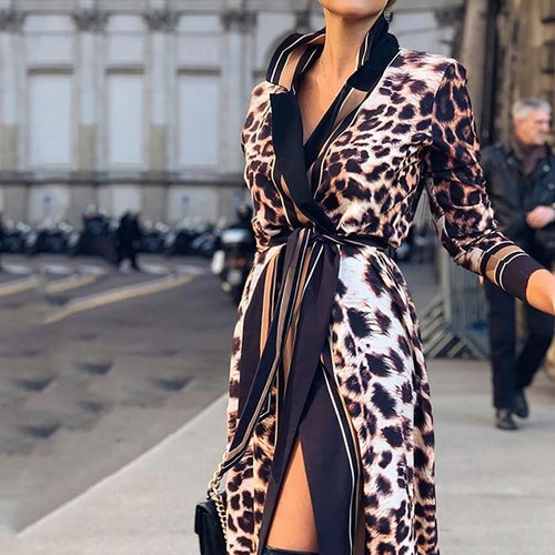 Commuting Leopard Print Belted Bracelet Sleeve Dress
