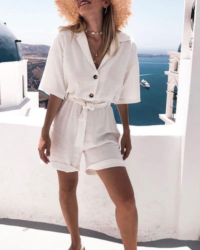 Casual V Neck Bracelet Sleeve Pure Colour Jumpsuits