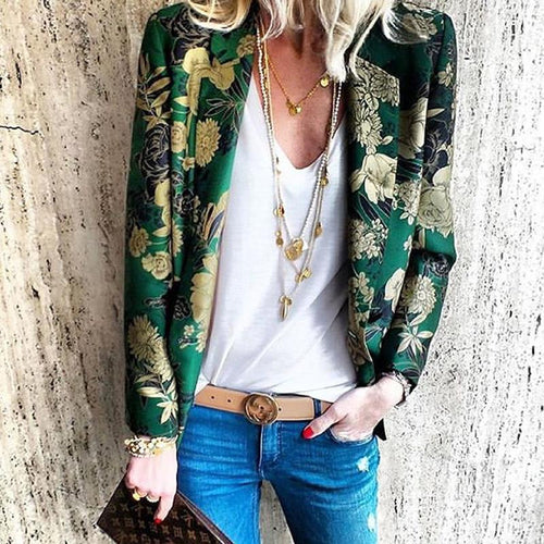 Women's Bohemian Printed Color Turndown Collar Long Sleeve Cardigan
