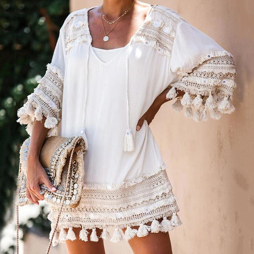 Bohemian Frayed Trim Tassel Bracelet Sleeve V Neck Dress