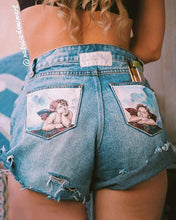 Load image into Gallery viewer, High Waist Printed Broken Holes Jeans
