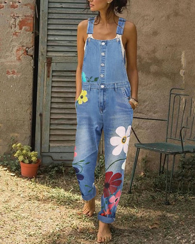 Casual Sling Floral Pattern Jeans