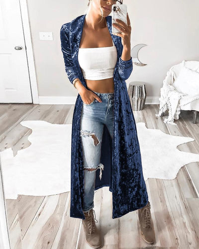 Solid Color Long Sleeve Loose Cardigans