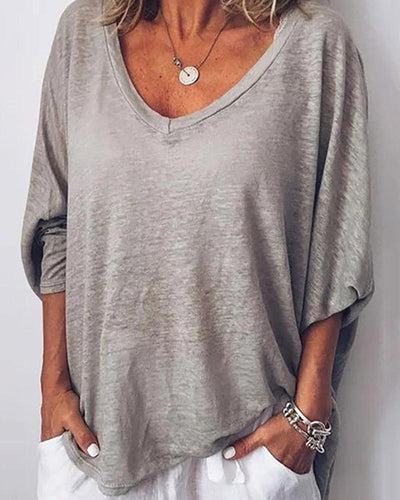 Casual Solid Color V-Neck Bat Sleeve Loose Long-Sleeved T-Shirt