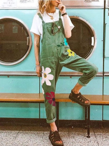 Fashion Wild Pure Color Fresh Printed Strap Trousers