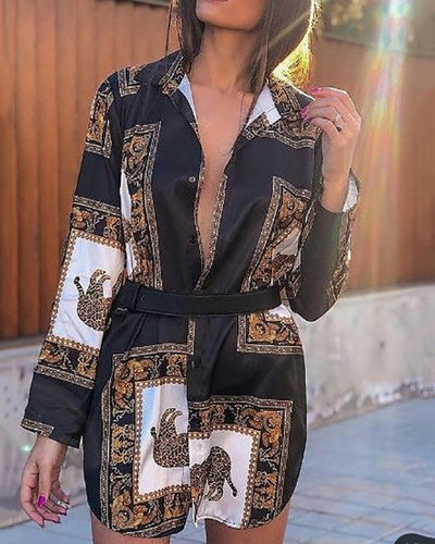 Long Sleeve Printed Colour Belted Shift Dresses