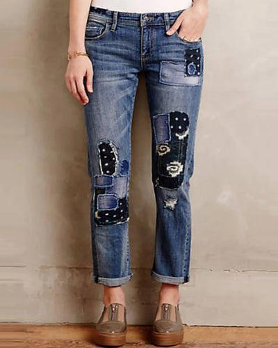 Casual Wide Leg Stitching Jeans